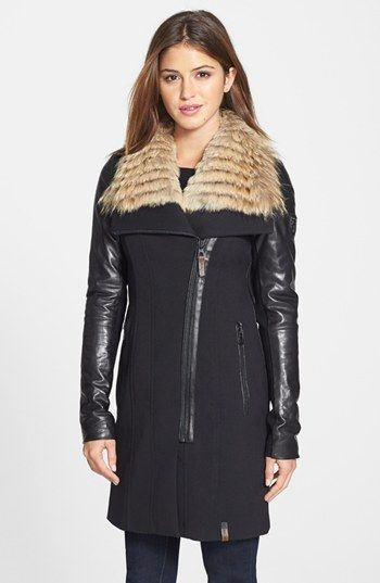 Rudsak 'Ranita' Genuine Coyote Fur Collar Coat with Leather Sleeves available at #Nordstrom