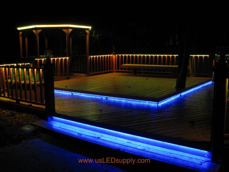 RGB Flexible LED Strips Lighting Up An Outside Deck Changing Colors. We Are  Using White