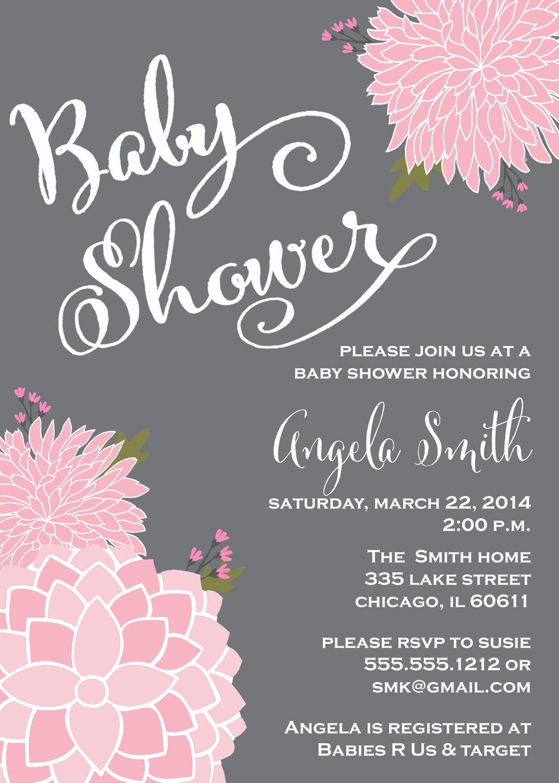 girl baby shower invitation, gray chalkboard, pink, flowers, Baby shower invitations