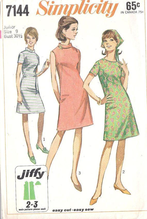 1960s Dress Sewing Pattern Junior ALine Dress by MissBettysAttic ...