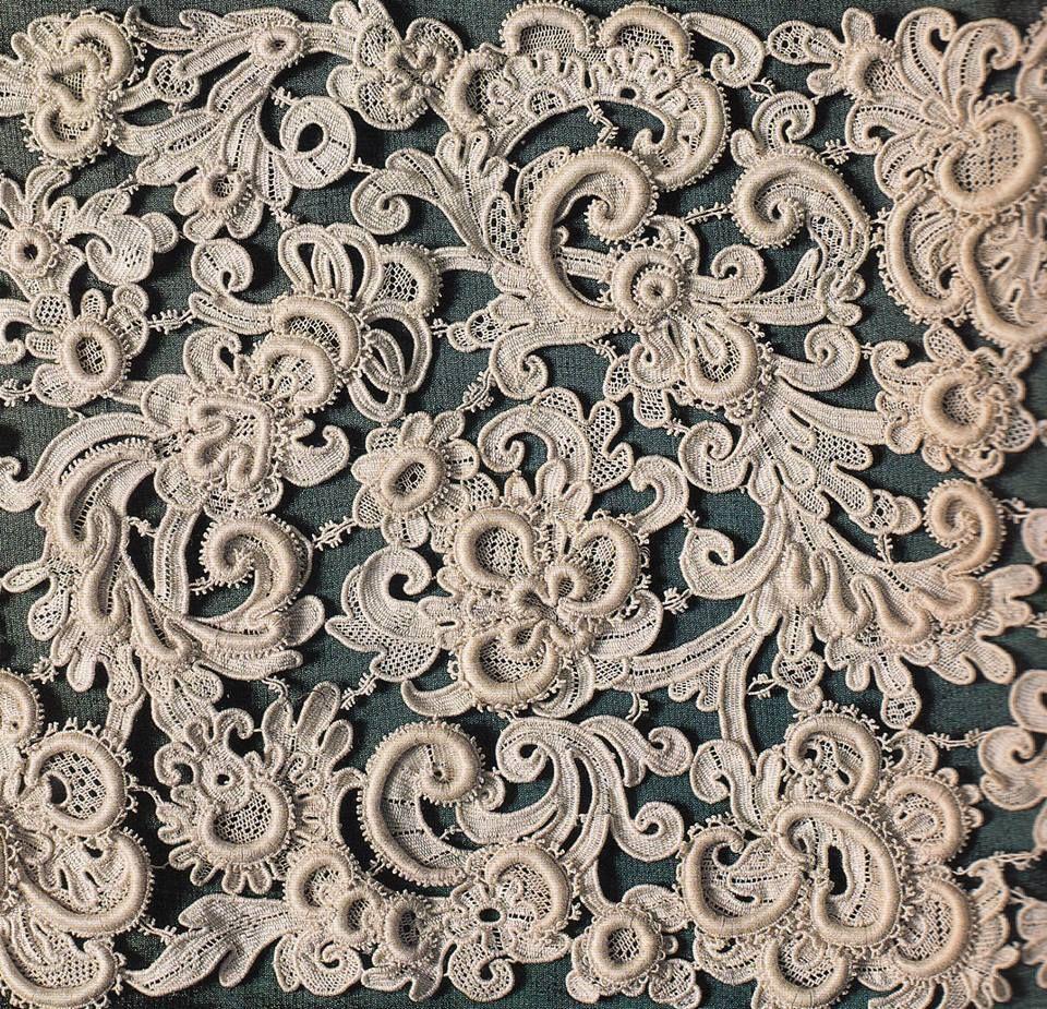 Unique Antique Handmade Punto Lace on Net Lace Background  BeltCollarTrim Downton Abbey