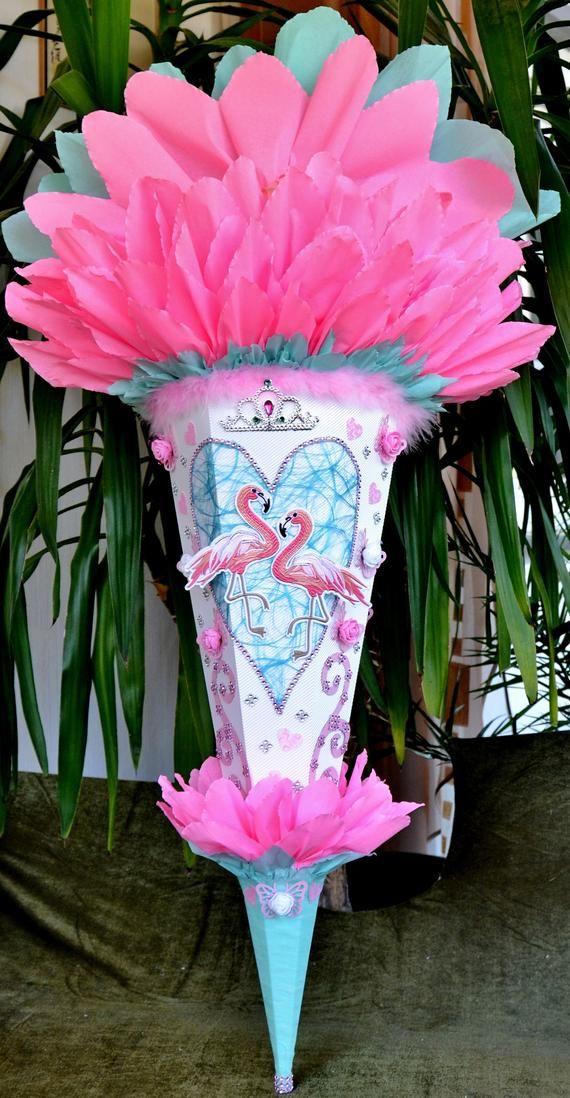 schultüte flamingo rosa türkis für mädchen zuckertüte