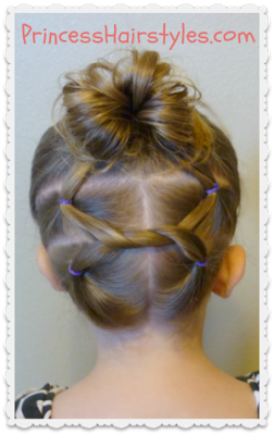 """shoelace knot"" bun gymnastics hairstyle"
