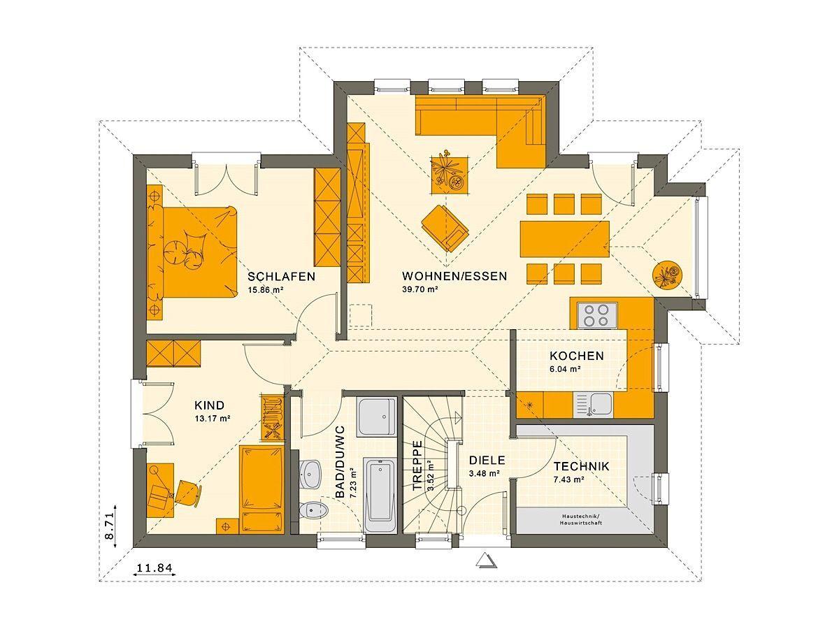 Fertighaus Bungalow Grundriss Mit Walmdach Architektur Erker Pool Terrasse 3 Zimmer 90 Qm Keller Treppe Einfamilien Walmdach Haus Grundriss Living Haus
