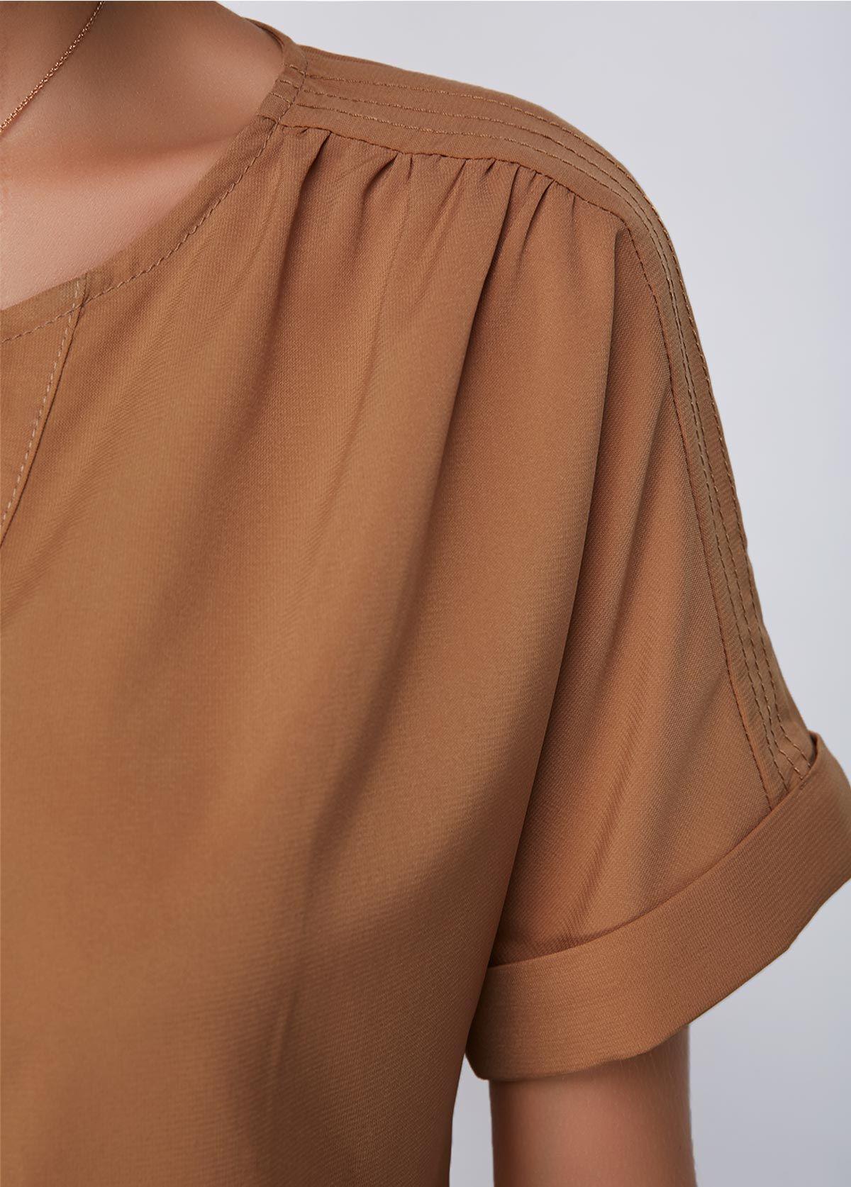 8c8db87bca6a2 Dark Khaki Split Neck Short Sleeve Blouse