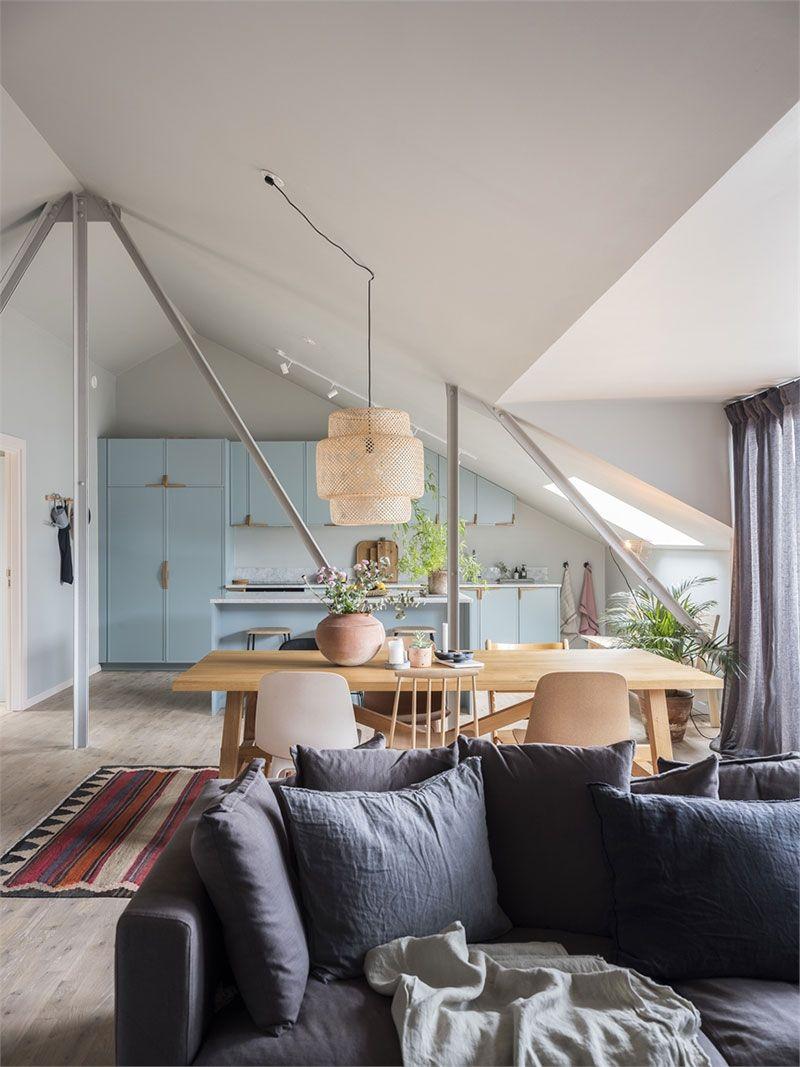 Conservatory Room Addition In The Uk 1040x1485 In 2020: Милая мансардная квартира с голубой кухней в Мальме