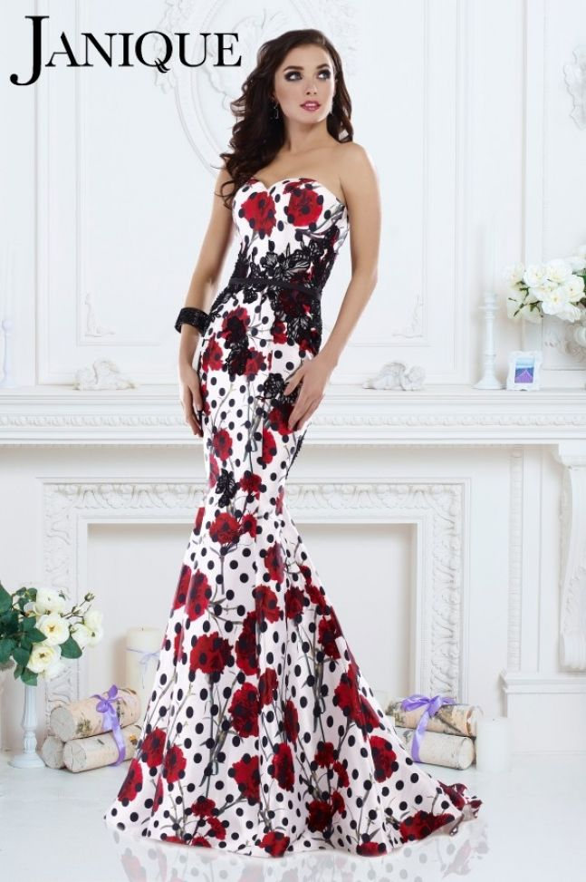 fa9688758d7 This satin Janique dress could be perfect for your next pageant or prom. It  features with a red