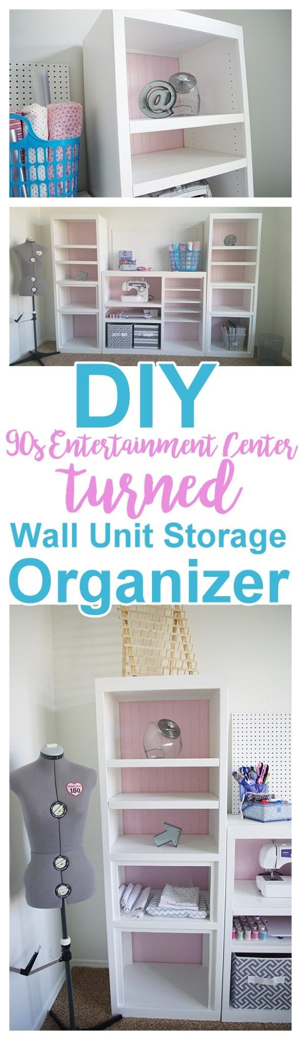 Diy craft room wall storage organizer unit furniture makeover diy 90s ugly entertainment center makeover pretty craft storage organizer wall unit solutioingenieria Gallery