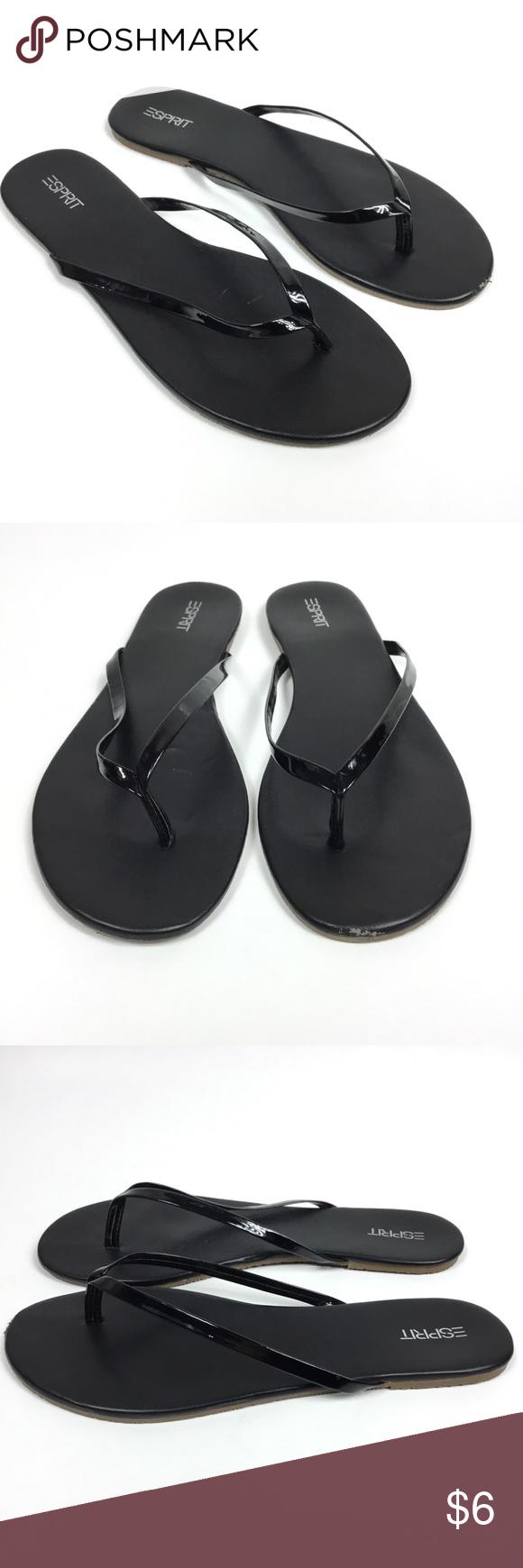 1e2cb0a07046 ESPRIT PARTY BLACK PATENT LEATHER THONG FLIP FLOPS Size 10 Has a scar at  toe on left shoe (pictured) Esprit Shoes Sandals