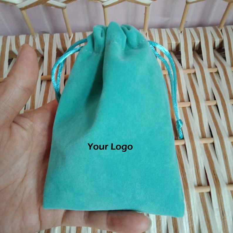 100 Pcs Pack Personalized Jewelry Bags With Drawstring,Soft Velvet Bracelet Pouches,Print Your Logo Jewelry Pouches