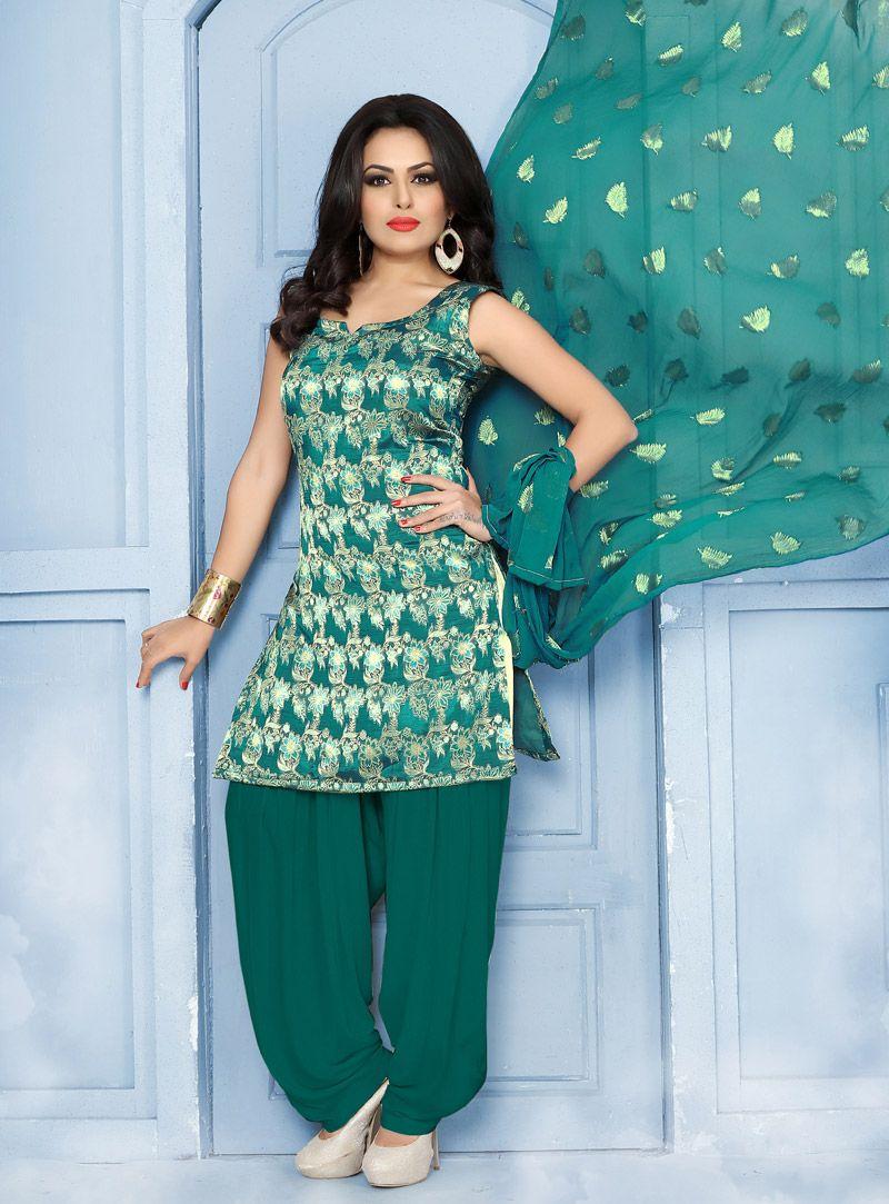 Teal Jacquard Punjabi Suit 101165   Punjabi Salwar Kameez / Suit ...