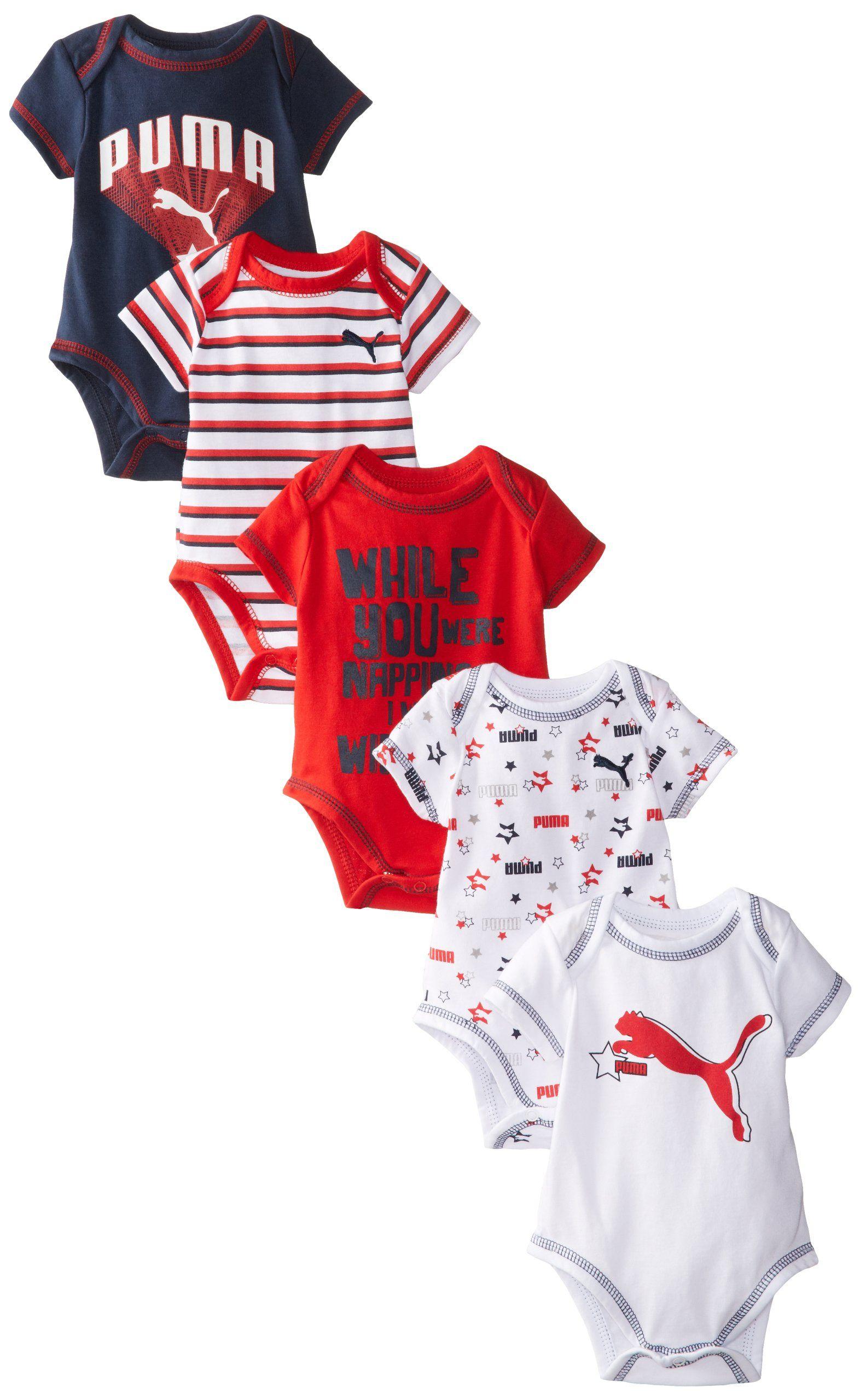PUMA Baby Boys Newborn 5 Pack Blue Creeper Set Multi 3 6 Months