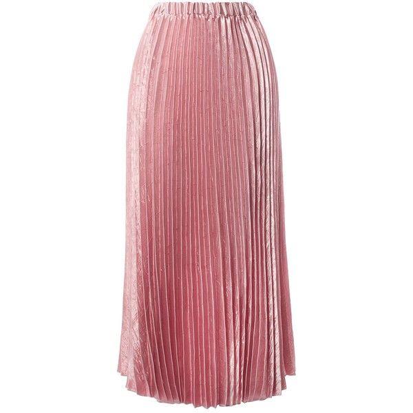 5540e447e3 Sans Souci Mauve satin crinkle pleated midi skirt (195 CNY) ❤ liked on  Polyvore