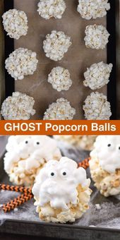 5 ingredient GHOST popcorn balls! Our family loved making this easy halloween tr..., #balls ...