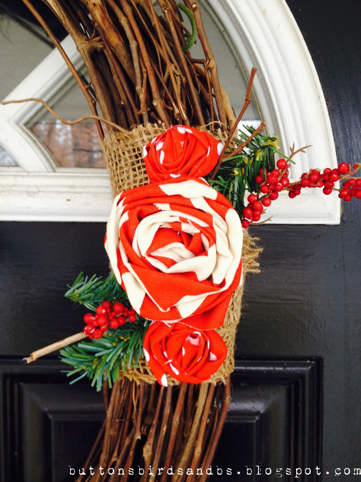 Holiday Wreath detail, with DIY burlap and red chevron fabric.