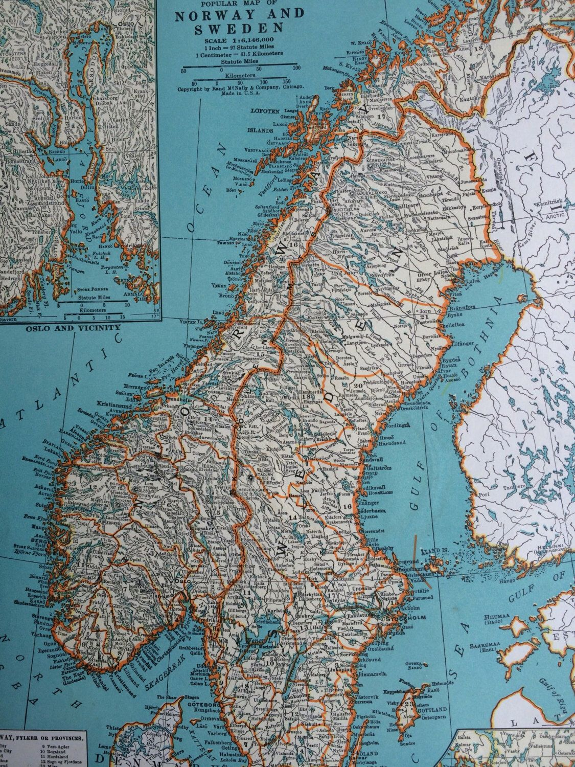 1937 norway sweden original vintage map 11 x 14 inches rand mcnally
