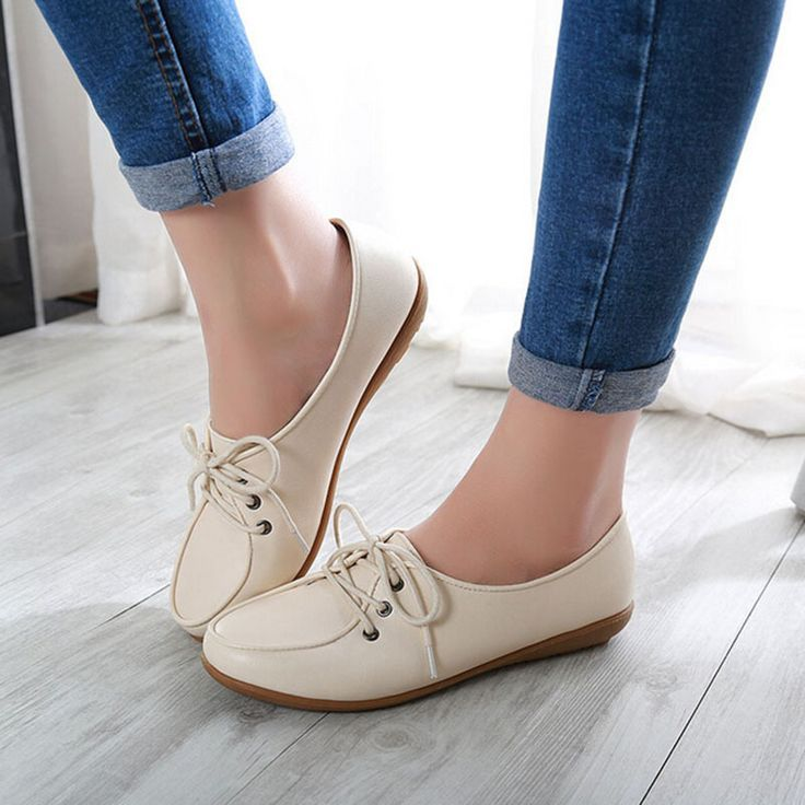Tendance Chaussures 2017/ 2018 : Plus Size New 2016 Women Leather Flats Shoes  Femme Chaussure