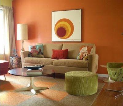Pared en color naranja Orange wall.... Dont be afraid of color ...