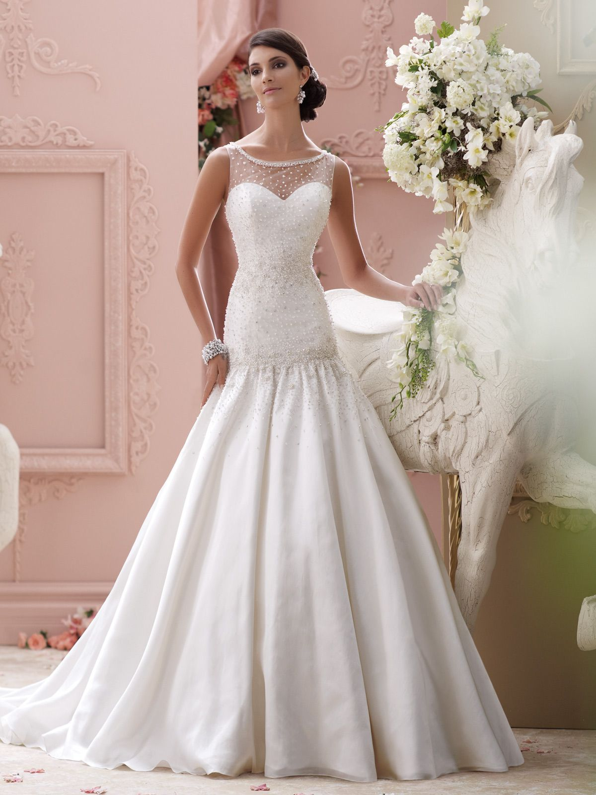 Style 115246 Sosie Is An Elegant Trumpet Wedding Dress With Illusion Neckline Designed