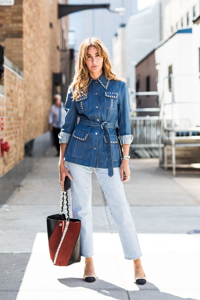 street style la tendance double denim arty inspiration mode pinterest fashion week mode. Black Bedroom Furniture Sets. Home Design Ideas