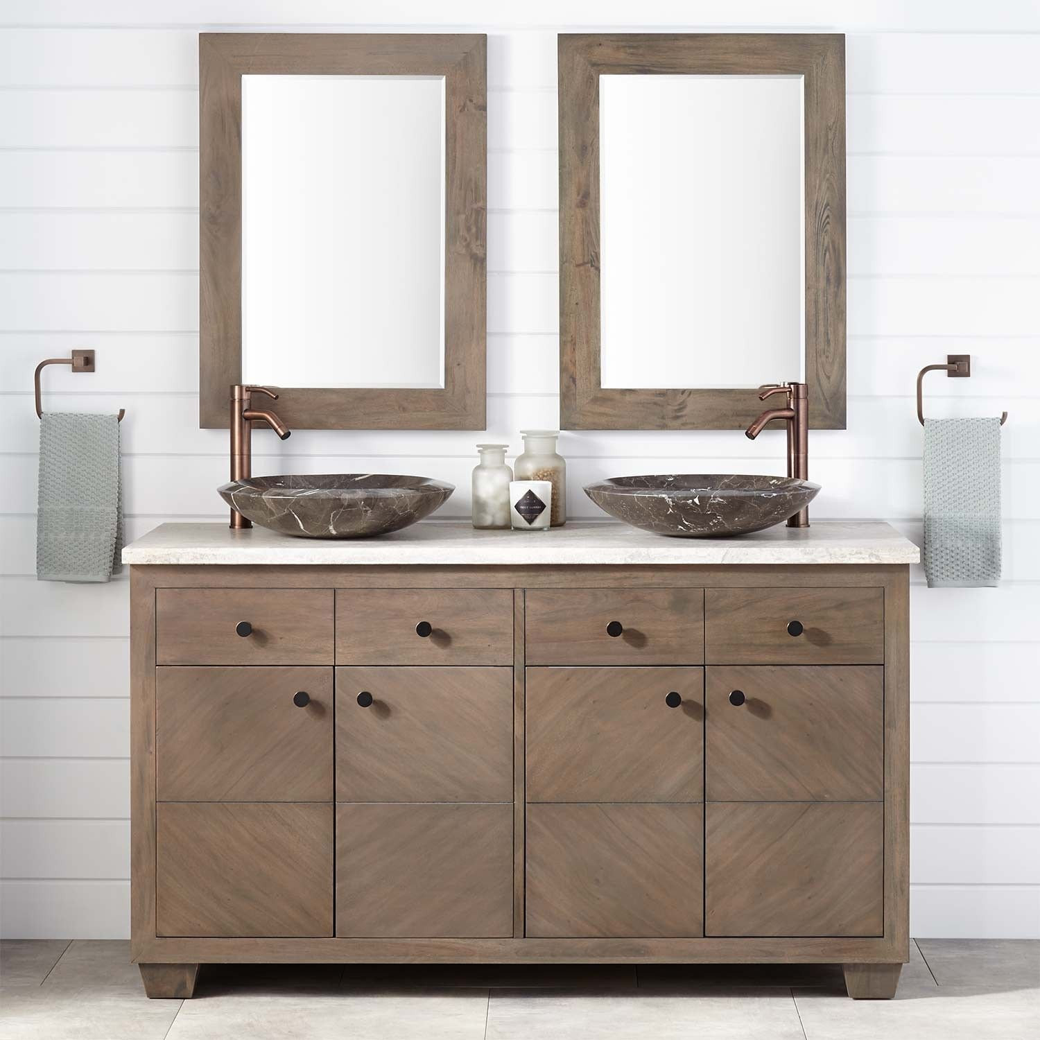 60 Faron Mahogany Vessel Sink Double Vanity Gray Wash With