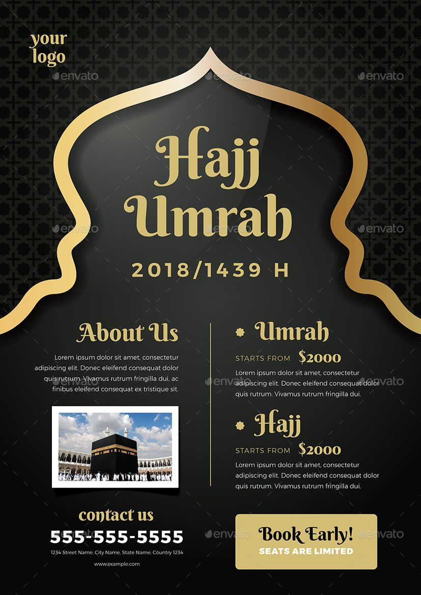Umrah Banner: Umrah & Hajj Flyer Template #amp, #Umrah, #Hajj, #Template