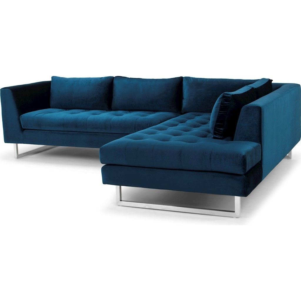 Janis Sectional Sofa In Midnight Blue Fabric Seat And Brushed Silver Legs Sectional Sofa Fabric Sofa Design Furniture