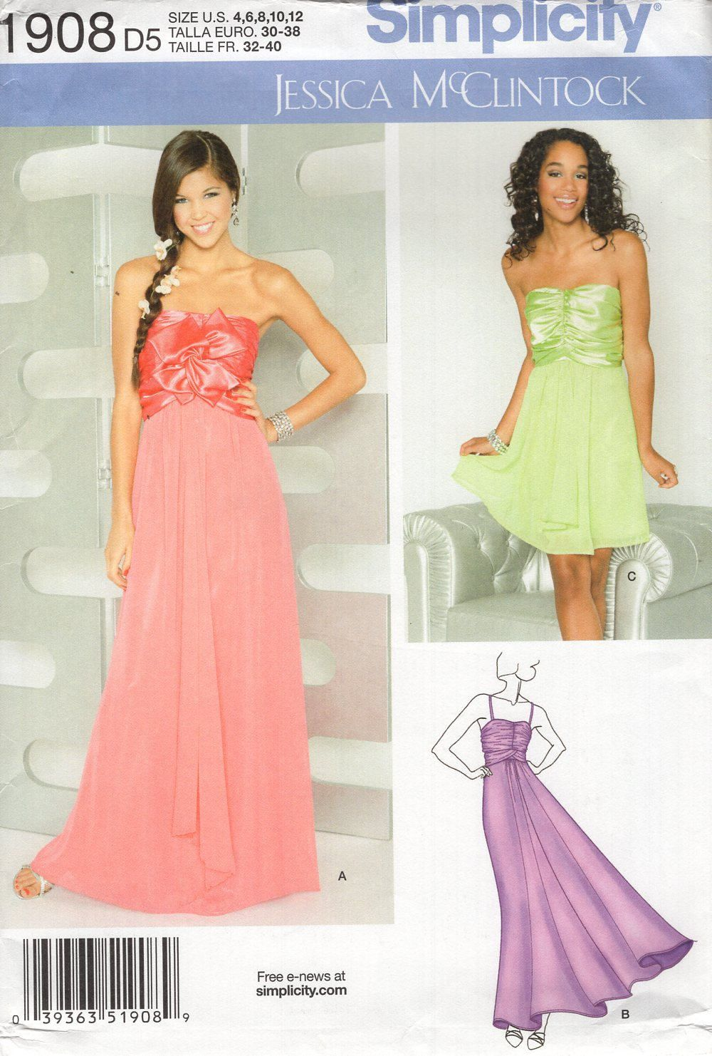 Free us ship simplicity jessica mcclintock prom evening length