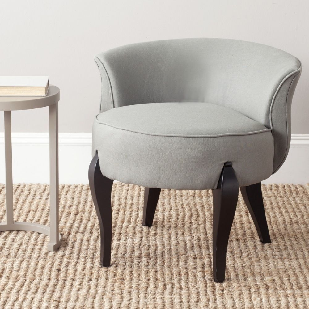 Accent Vanity Chair Upholstered Grey Linen Fabric Low Back Seat ...