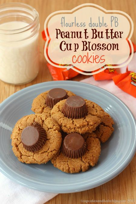 Flourless Double PB Peanut Butter Cup Blossom Cookies - super easy and the best combination of chocolate and peanut butter!   cupcakesandkalechips.com   gluten free dessert