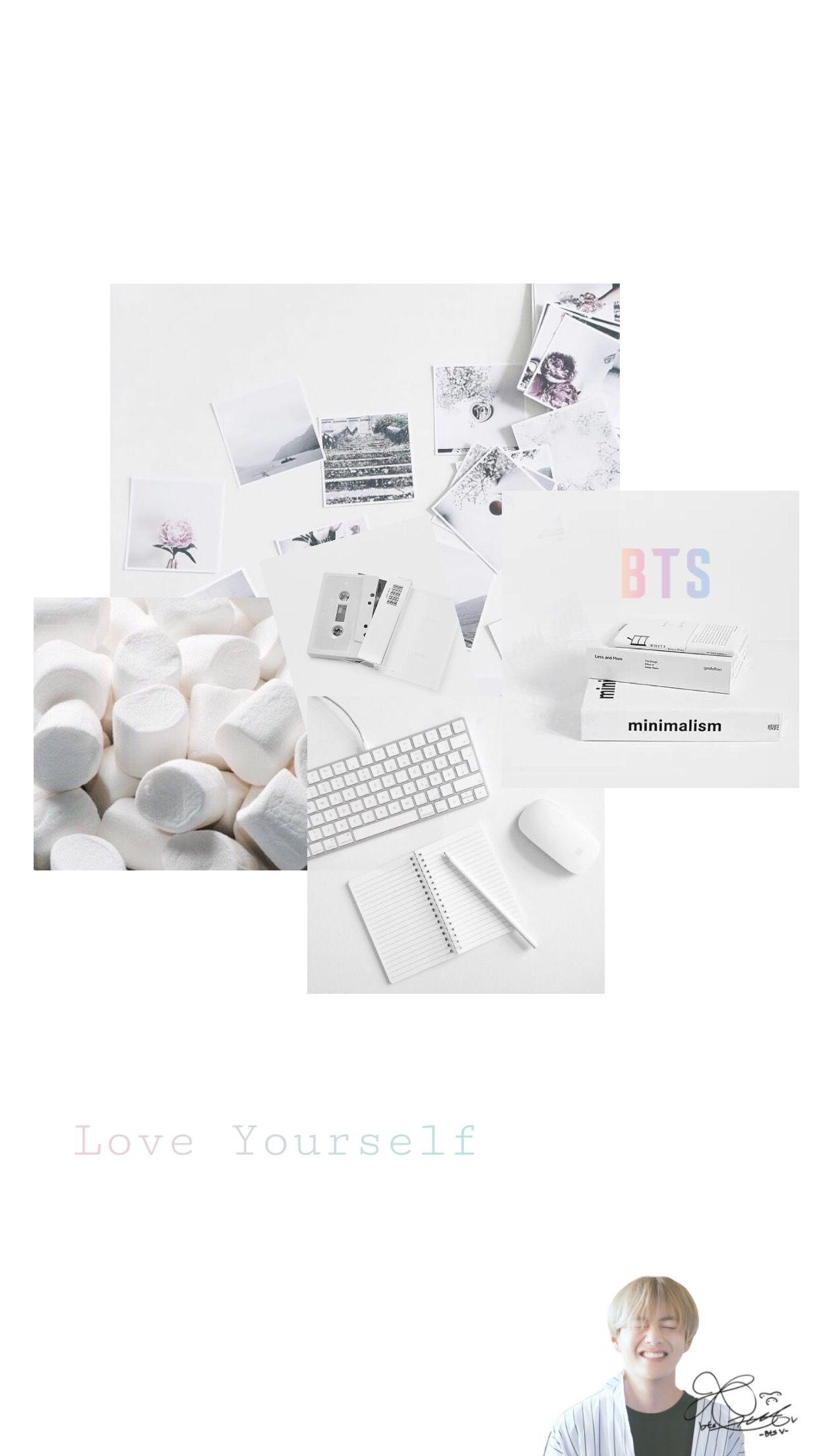 Bts V White Aesthetic Lockscreen Wallpaper Iphone Minimalist Wallpaper Bts Wallpaper Aesthetic Iphone Wallpaper
