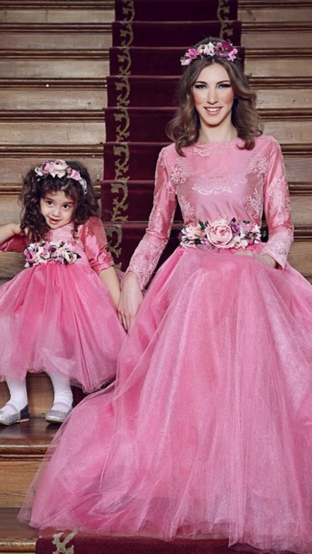 Madre e hija, vestido largo con tull. | Mom and daughter,Mamá e hija ...