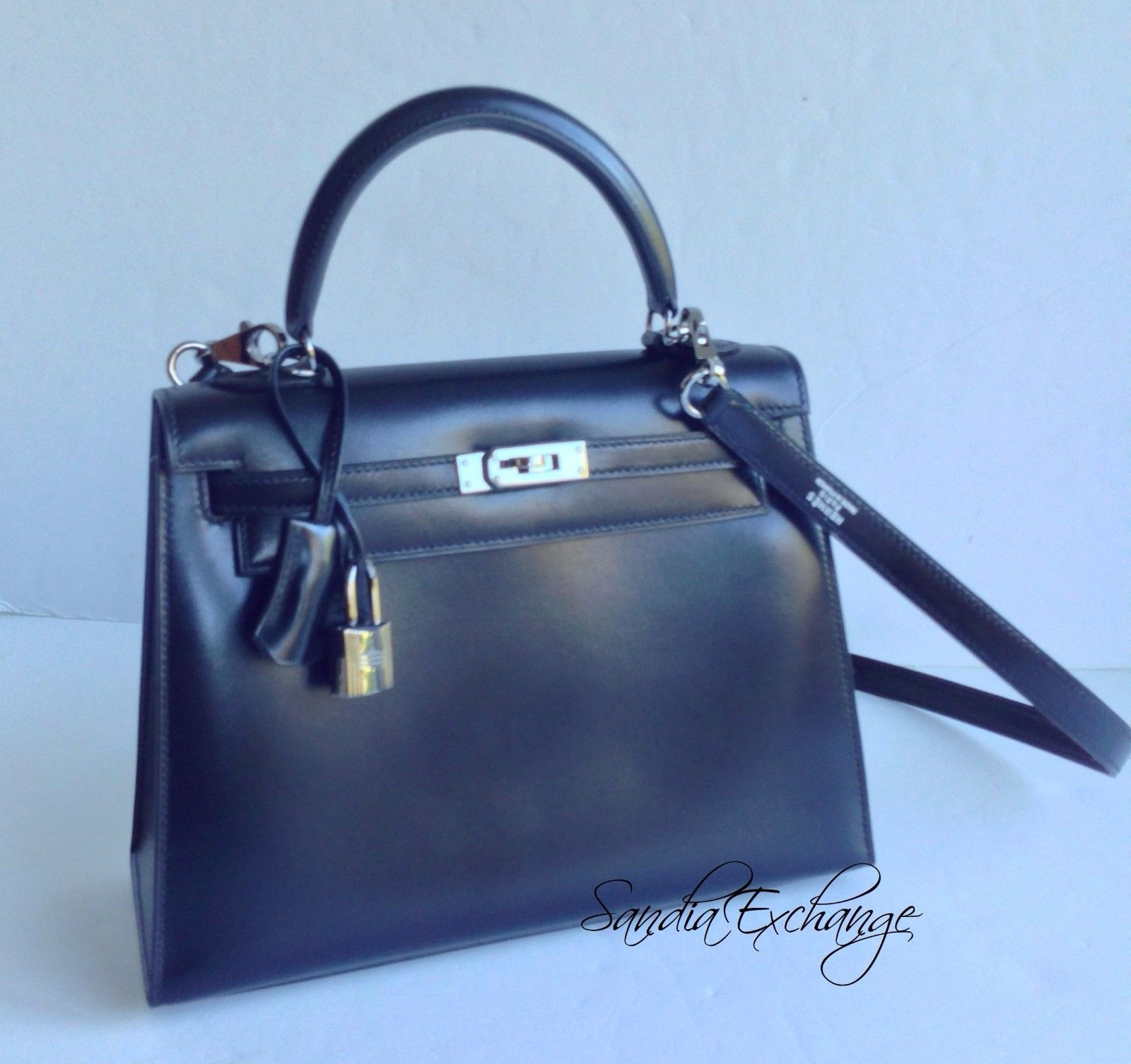ec0e585ebe39 Hermes Kelly 25 cm Black Box Calf Ruthenium Hardware RARE Authentic Hermès  RARE
