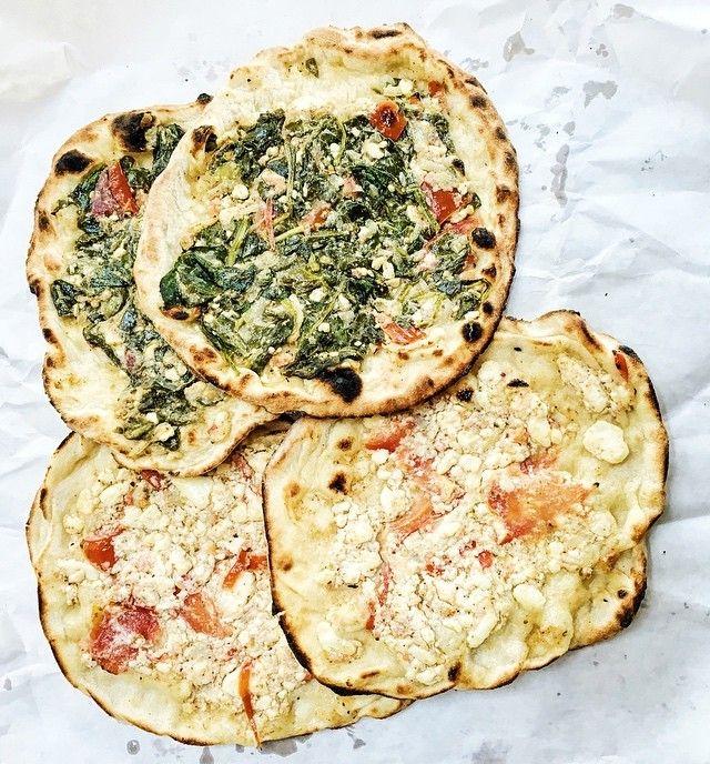 Open-faced Lebanese spinach and feta pies - so so yummy, basically a  Lebanese pizza!