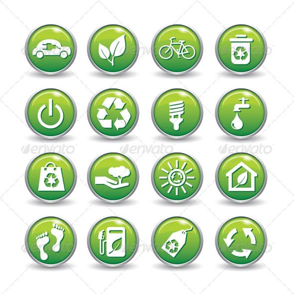Ecology Web Icons Green Buttons Ecology Icon Set Icon Set Green Button Green