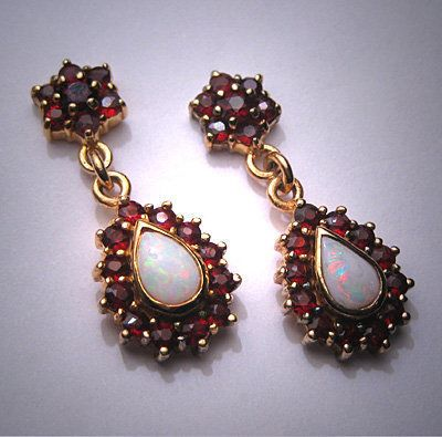 Vintage Australian Opal Garnet Earrings - Victorian Style