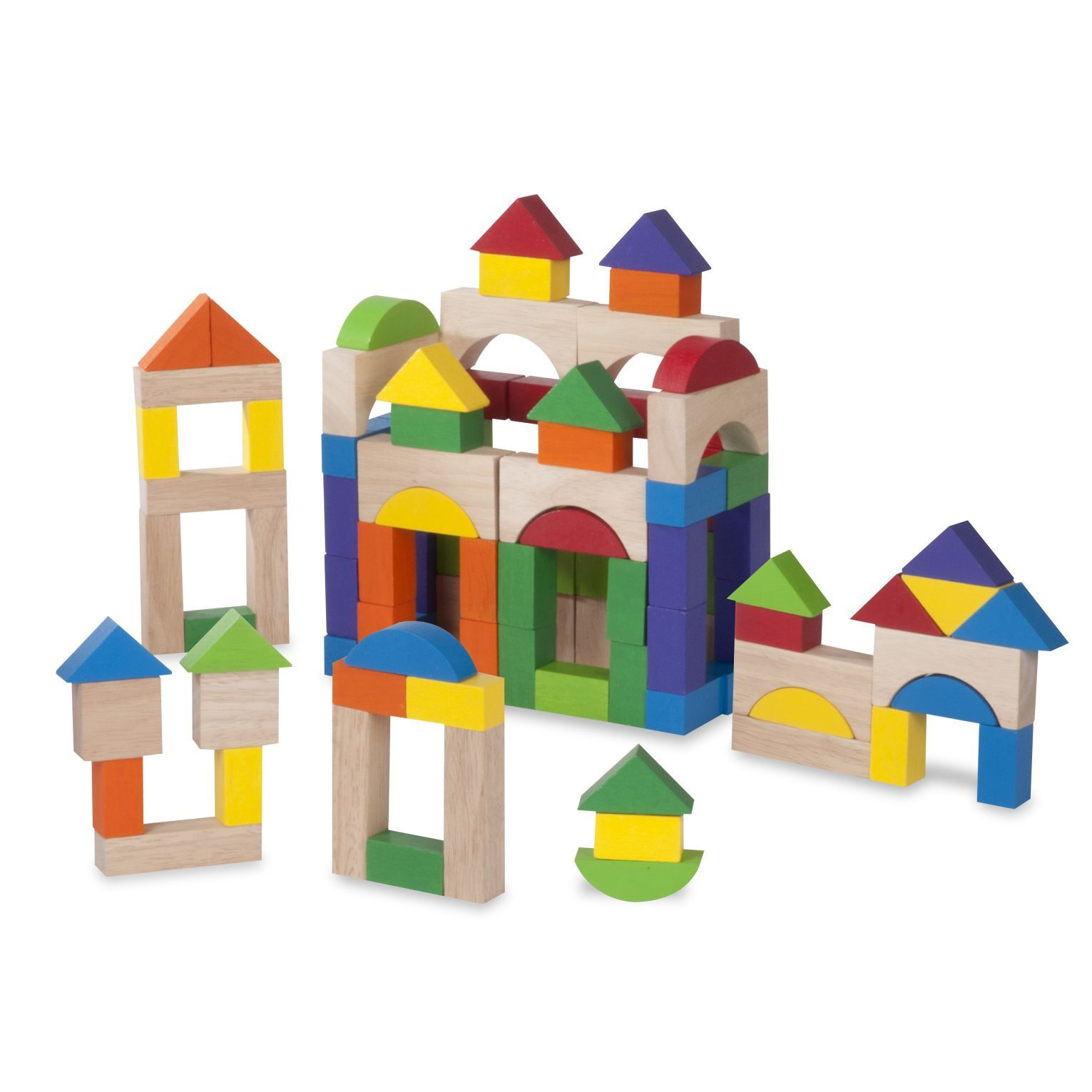 The Wonderworld 100 piece wooden blocks set es with blocks in