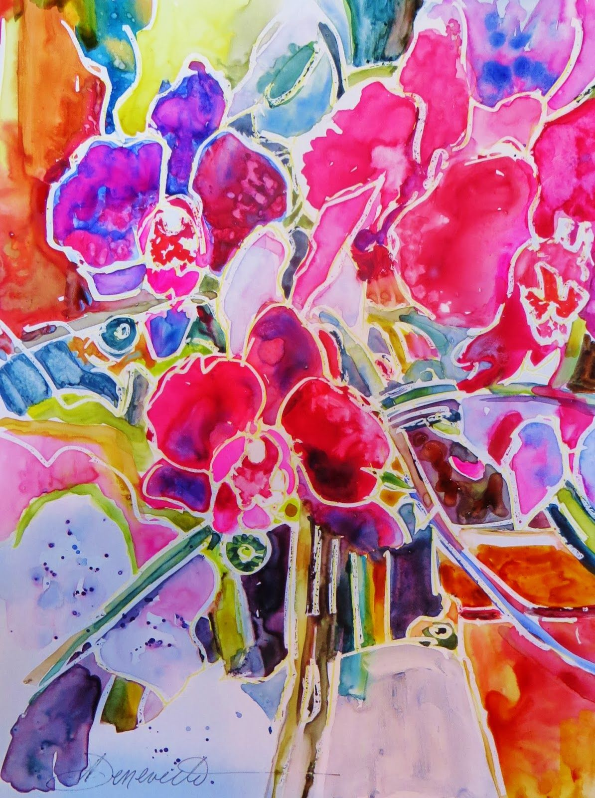 """""""Think Pink Orchids"""" Watercolor on YUPO painting. YUPO painting workshop @ http://www.heritage-guild.com/Workshops.html"""