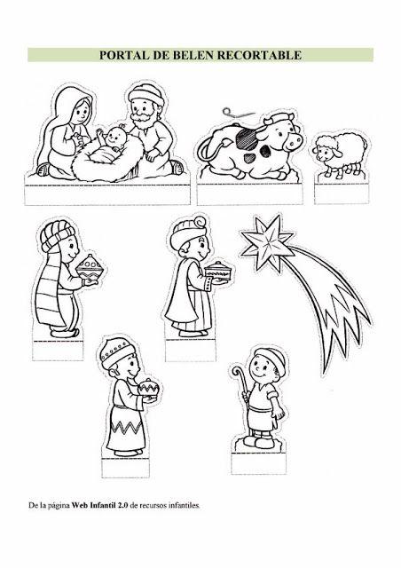 adviento y navidad nacimiento para colorear y recortar