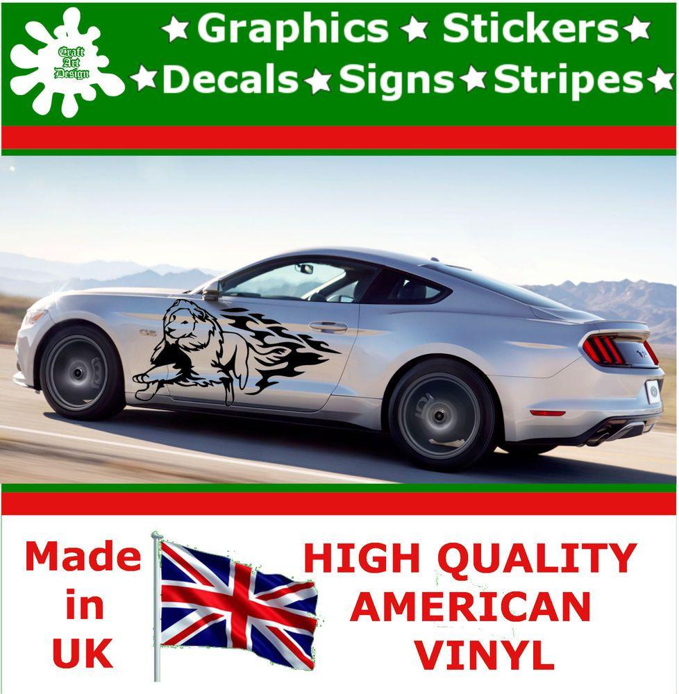 Car sticker design fire - 2 X Large Car Side Lion Run Fire Flame Graphics 4x4 Decal Vinyl Sticker Van 87