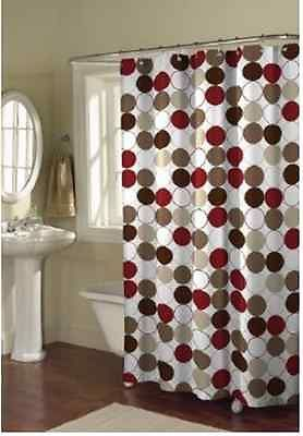 CIRCLES FABRIC Shower Curtain MULTI COLORED COLOR RED/BROWN