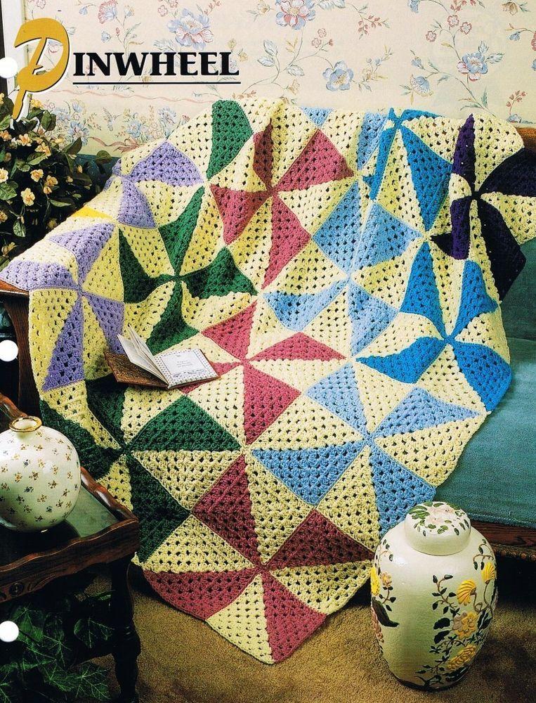 Pinwheel Annie\'s Attic Crochet Afghan Pattern Instructions