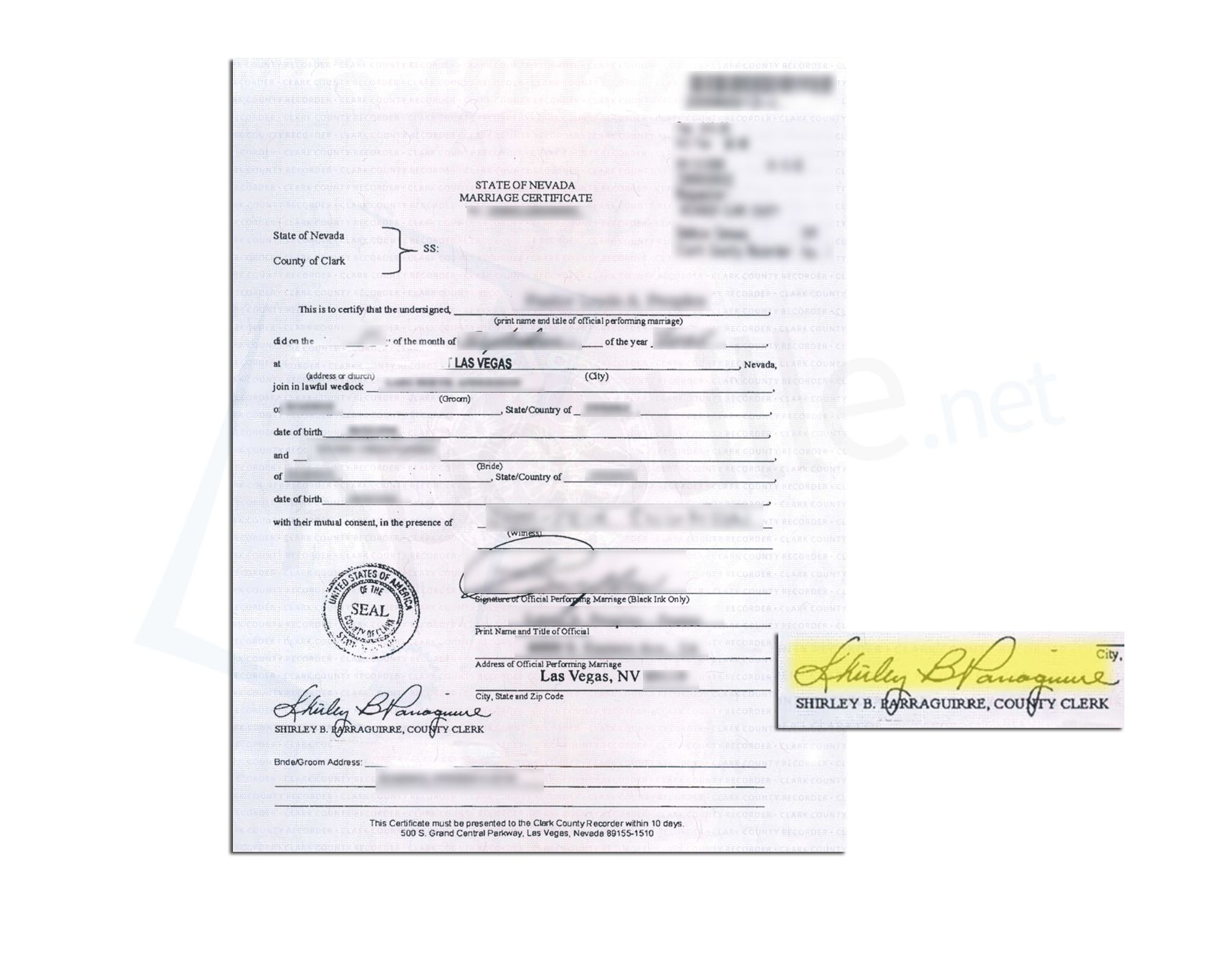 State Of Nevada Marriage Certificate Issued By Shirley B Barraguirre County  Clerk