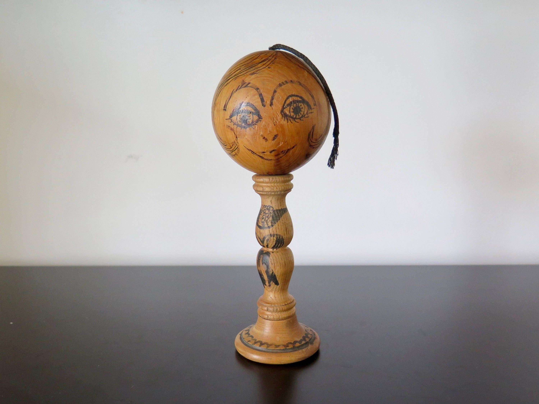 Vintage French Bilboquet, Wooden Stick and Ball Toy, Bilbo