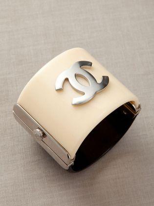 ♔ cream & silver Chanel cuff