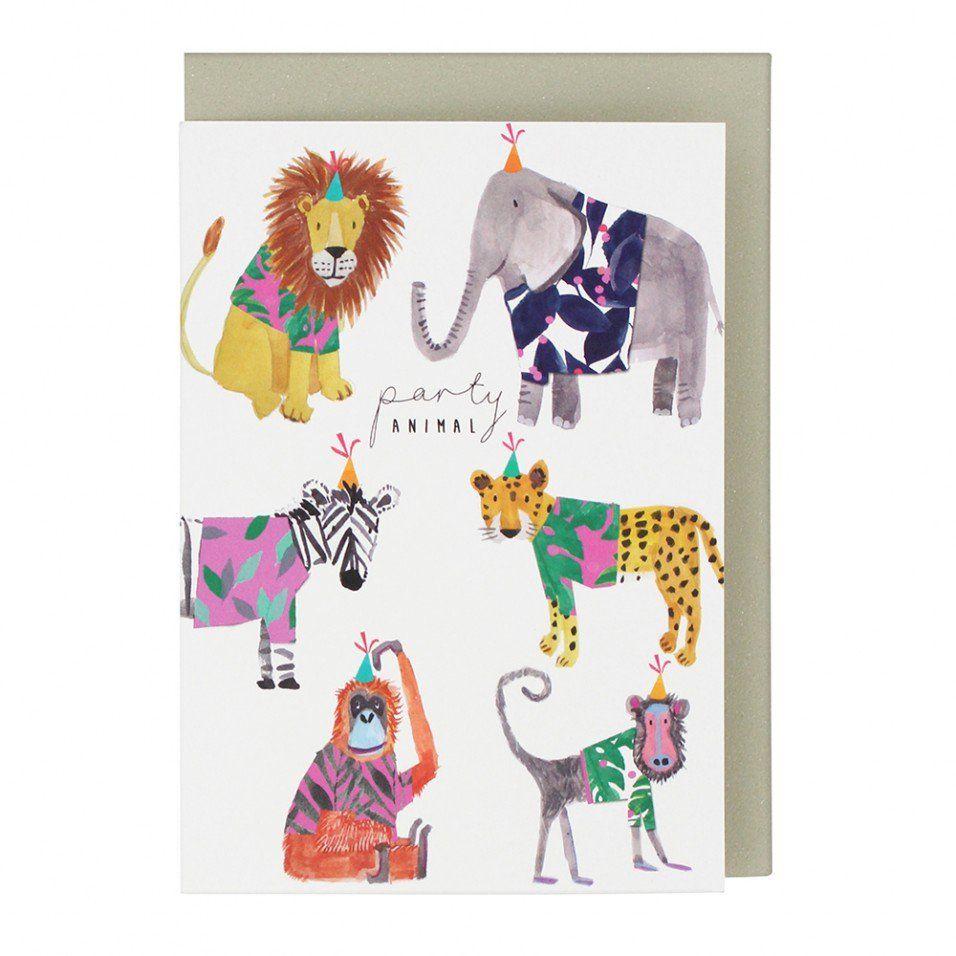 Party Animal Birthday Card Birthday Card Drawing Watercolor Birthday Cards Birthday Card Design