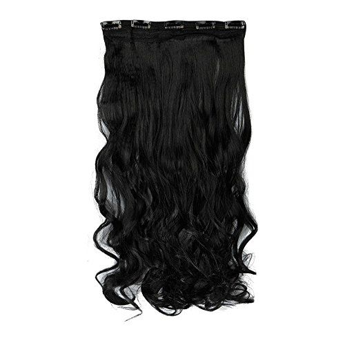 Jet Black 24 Inches Curly One Piece Clip in Hair Extensions 5 Clips Clip Ins Hairpiece for Women Lady Girl -- Click image to review more details.Note:It is affiliate link to Amazon.