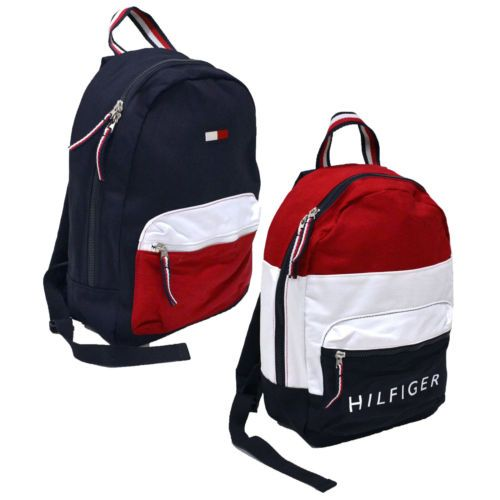 Tommy Hilfiger Backpack Canvas Small Book Bag 2 Pocket School Travel Colorblock