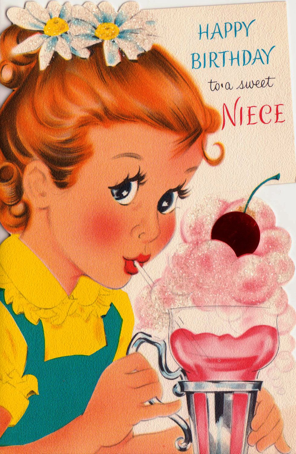 1950s vintage happy birthday to a sweet niece greetings