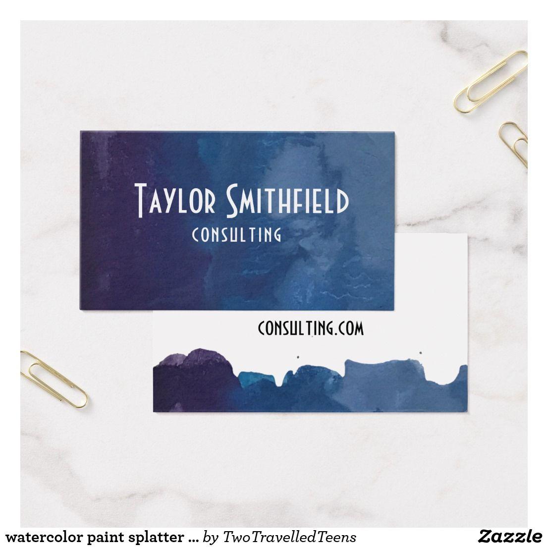 Watercolor paint splatter swirl business card   Business cards